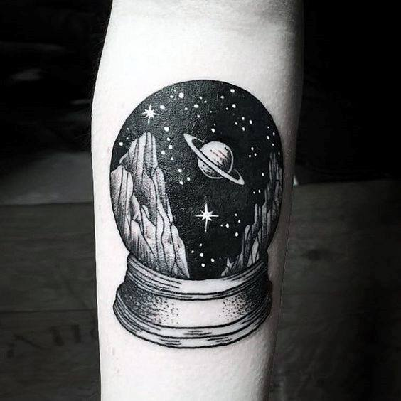 awesome-small-unique-mens-snow-globe-outer-space-forearm-tattoo