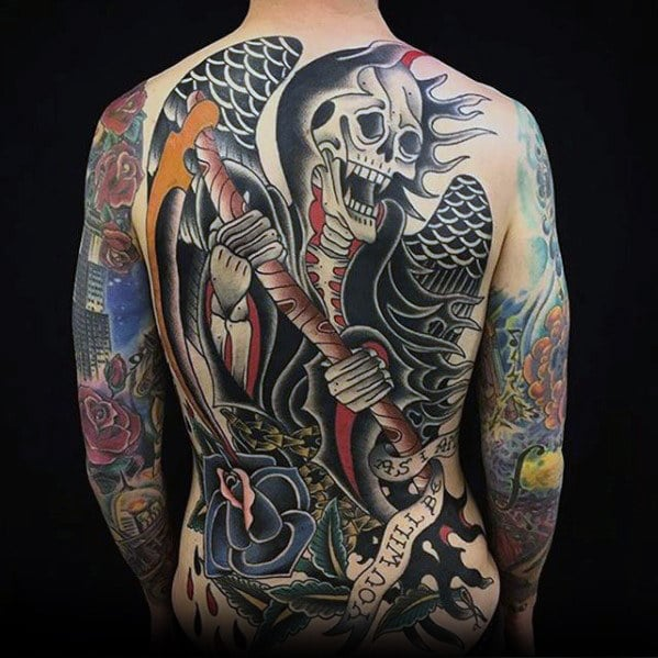 badass-mens-tradtional-old-school-grim-reaper-tattoo-on-back