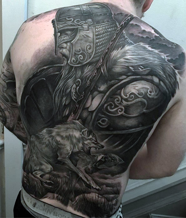 badass-viking-warrior-with-wolf-mens-tattoo-on-back