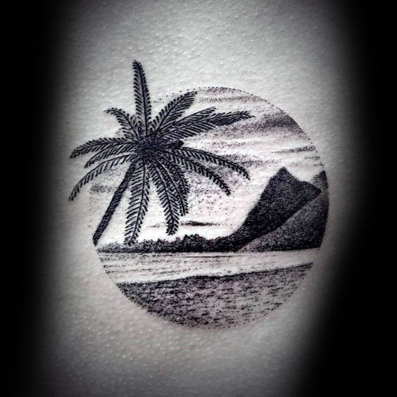 beach-circle-detailed-arm-small-unique-tattoos-for-males