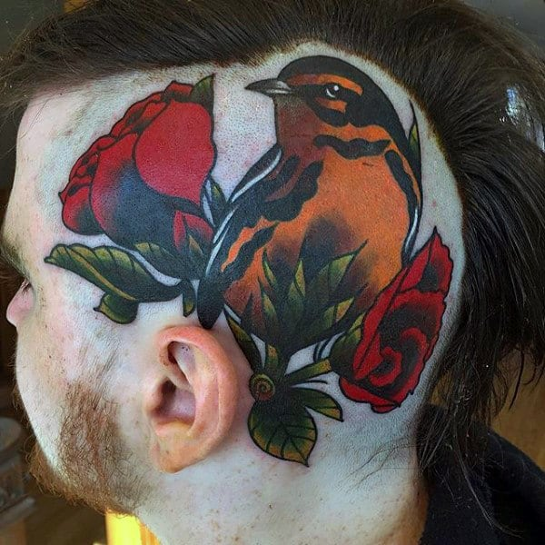 bird-with-rose-flowers-mens-head-tattoos