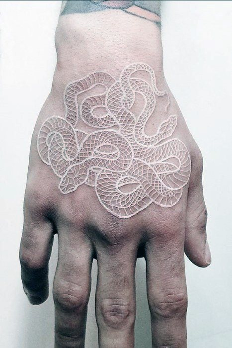 cool-small-unique-white-ink-snake-mens-hand-tattoos