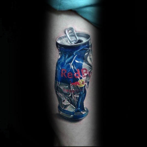 cool-thigh-hyper-realistic-red-bull-can-mens-tattoo-ideas