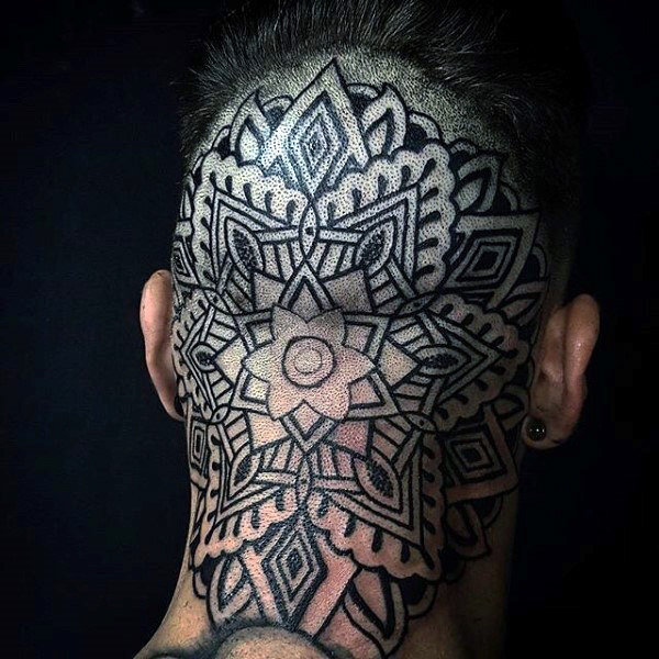 guys-geometric-flower-pattern-back-of-head-tattoo-design-inspiration