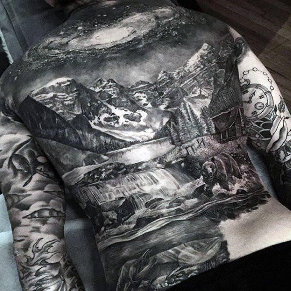 guys-mountain-with-night-sky-badass-landscape-back-tattoos