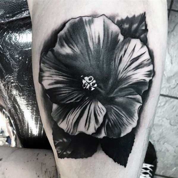 guys-small-unique-shaded-tropical-flower-arm-tattoo-designs