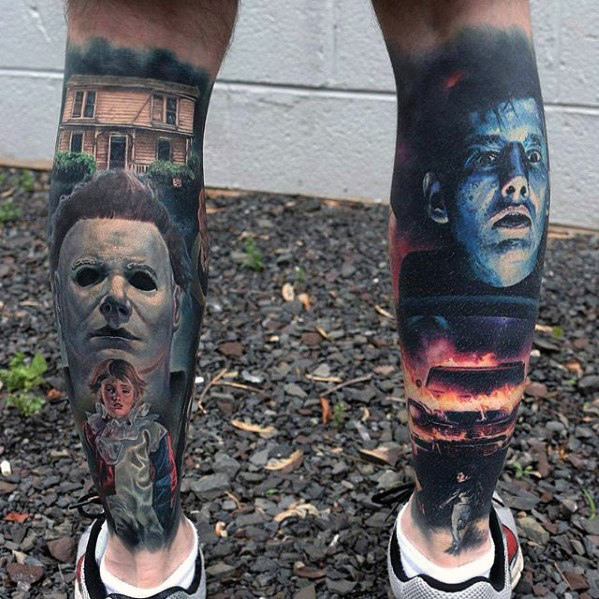 hyper-realistic-back-of-leg-mens-horror-themed-tattoos
