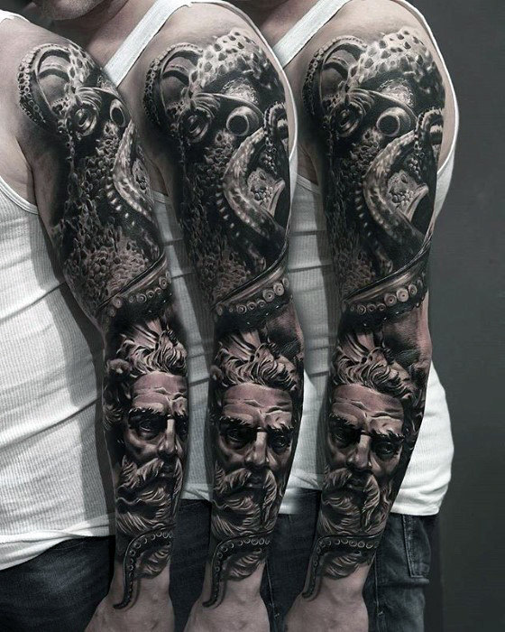 hyper-realistic-octopus-with-greek-god-mens-sleeve-tattoo