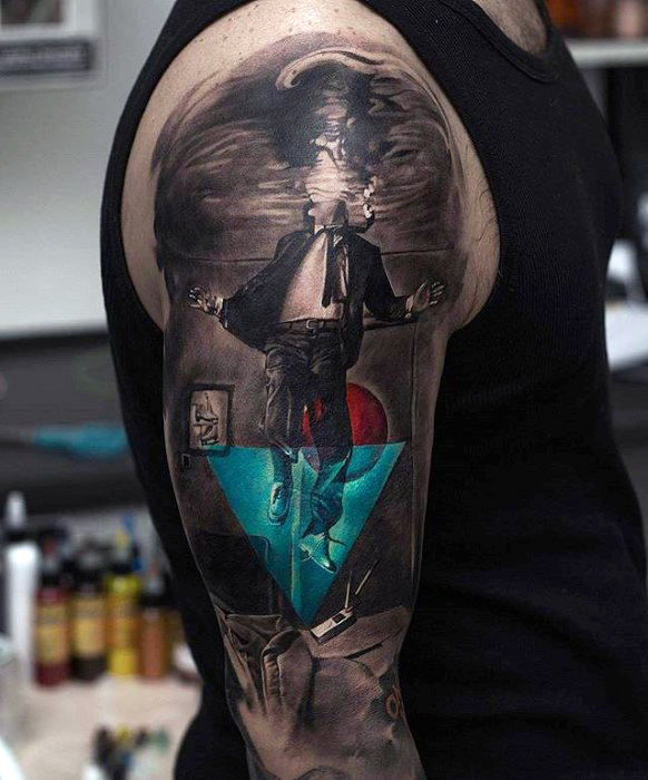 man-floating-in-water-hyper-realistic-guys-half-sleeve-tattoo