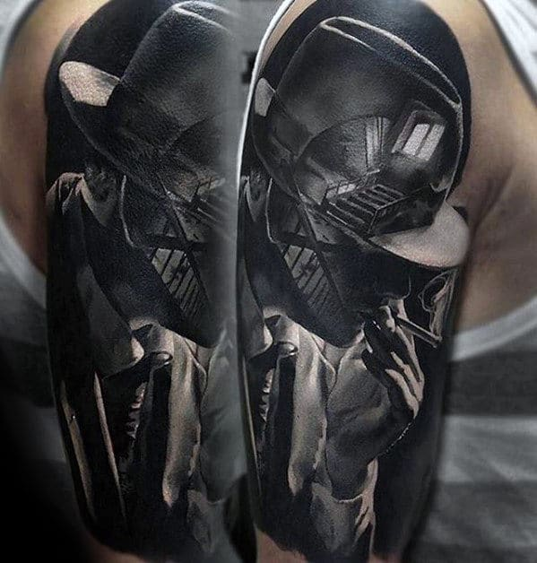 man-with-hyper-realistic-staircase-half-sleeve-tattoo