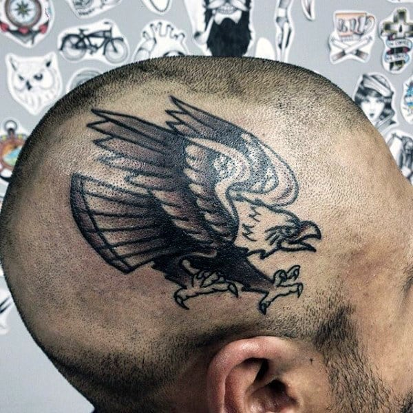 mens-old-school-bald-eagle-traditional-head-tattoo