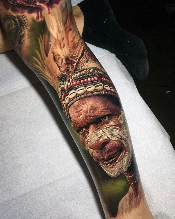 native-american-indian-guys-hyper-realistic-leg-sleeve-tattoo