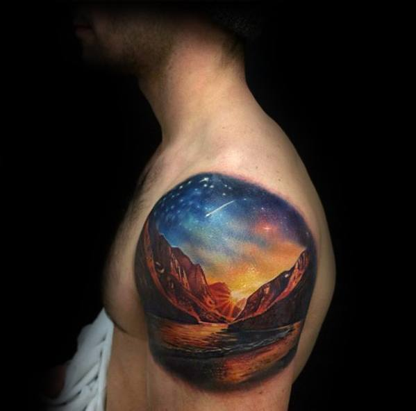 outer-space-sky-with-mountains-mens-small-unique-3d-upper-arm-tattoos