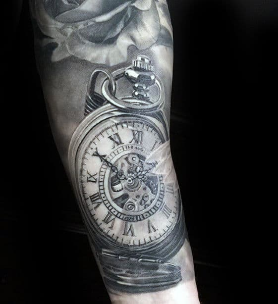 pocket-watch-hyper-realistic-mens-arm-tattoo