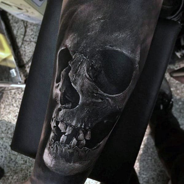 skull-3d-guys-hyper-realistic-forearm-sleeve-tattoo-ideas