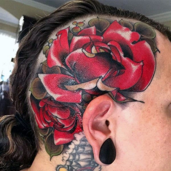 traditional-guys-red-rose-flower-head-tattoos