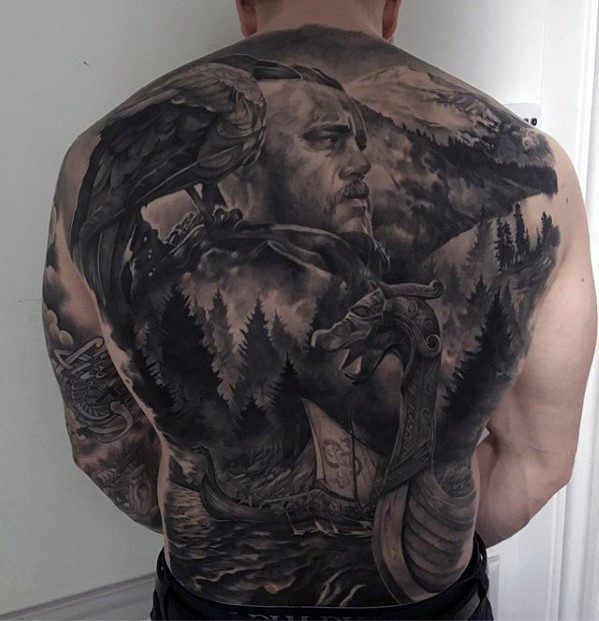 viking-warrior-with-nature-forest-mens-badass-back-tattoo