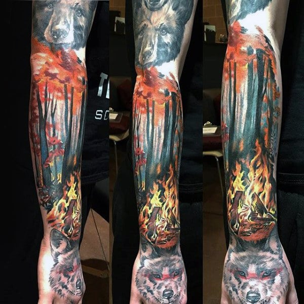 campfire-mens-sleeve-tattoo-with-forest-background