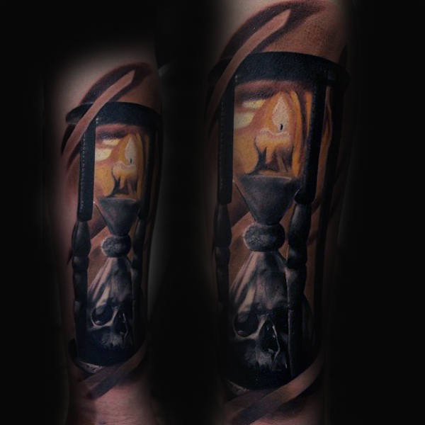 candle-burning-fire-tattoo-with-hourglass-for-men