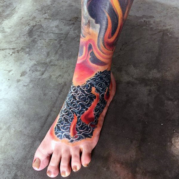 chain-mail-armor-mens-foot-tattoo-with-fire-flames