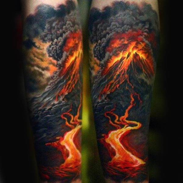 lava-fire-volcano-mens-sleeve-tattoo-with-realistic-design
