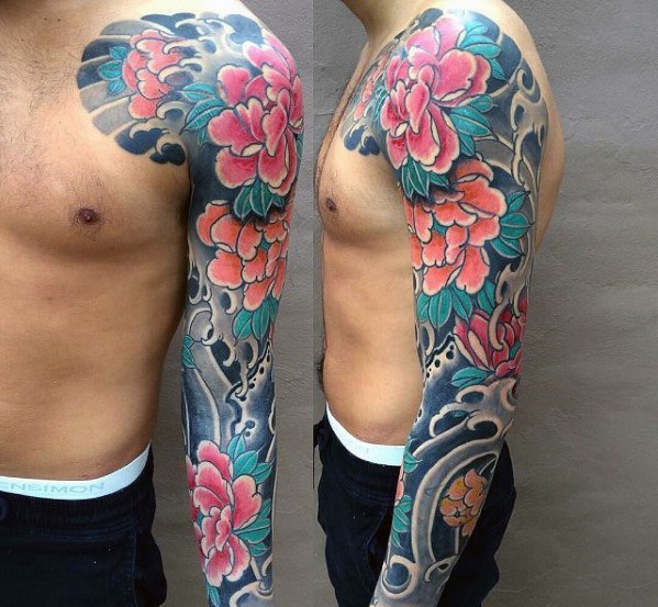 amazing-mens-traditional-japanese-floral-flower-full-sleeve-tattoo-ideas