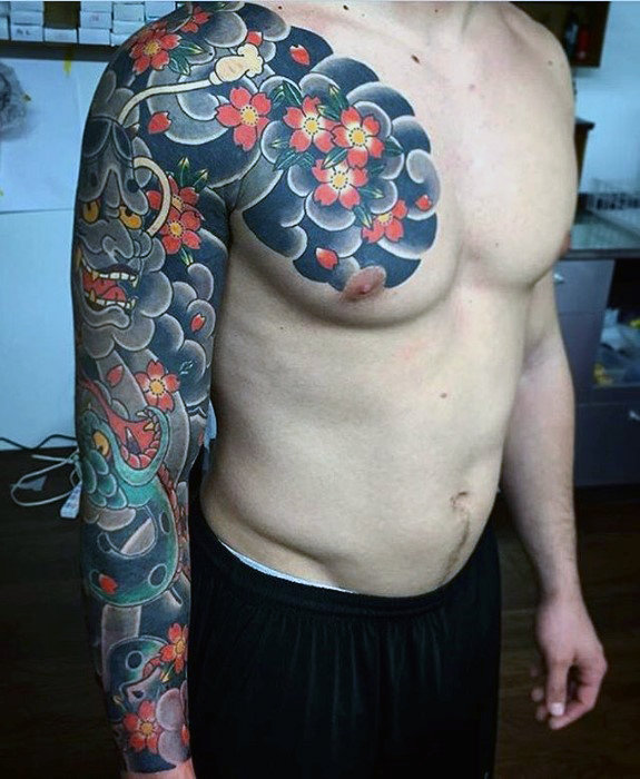 awesome-flower-cloud-sleeve-guys-japanese-tattoo-designs