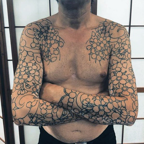 black-ink-outline-guys-japanese-flower-sleeve-tattoos