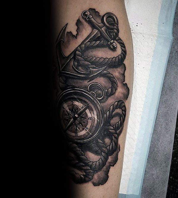 forearm-guys-rope-with-compass-and-anchor-unique-tattoos