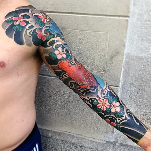 full-arm-sleeve-japanese-mens-flower-and-fish-tattoos