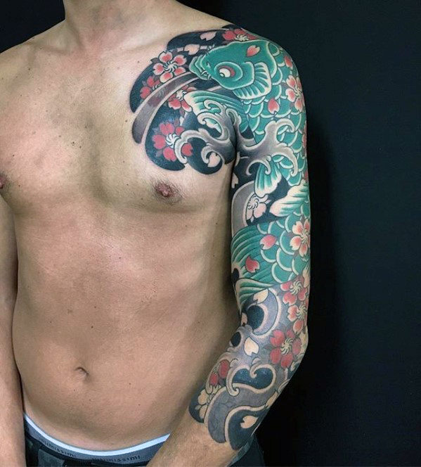 guys-green-koi-fish-with-flowers-japanese-sleeve-tattoo