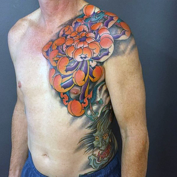 japanese-chrysanthemum-flower-mens-chest-tattoos