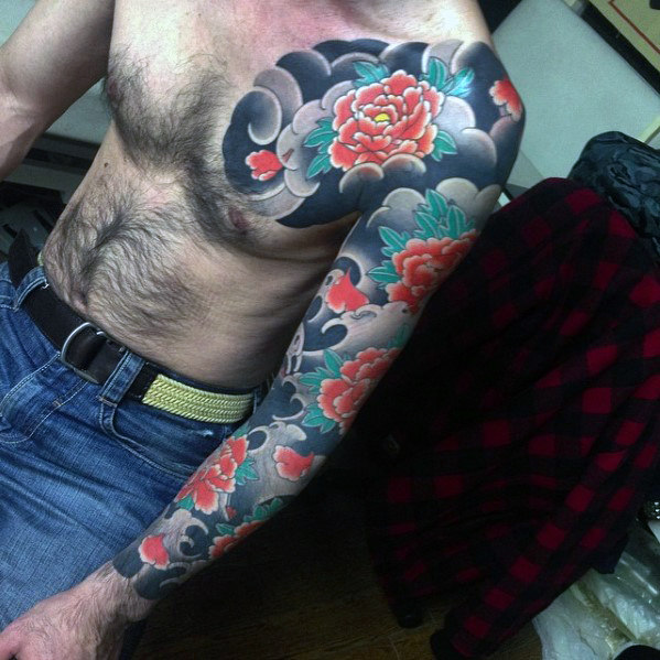 male-with-japanese-carnation-flower-full-sleeve-tattoo