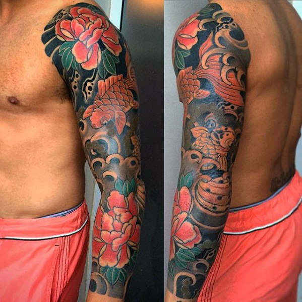 manly-guys-full-sleeve-japanese-flower-and-koi-fish-tattoos