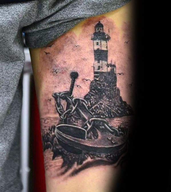 manly-unique-lighthouse-anchor-mens-thigh-tattoos
