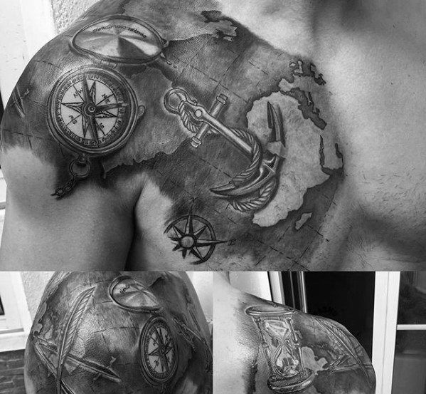 map-with-anchor-and-compass-mens-unique-shoulder-and-chest-tattoo