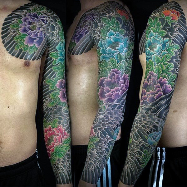 mens-carnation-japanese-flower-full-sleeve-tattoos