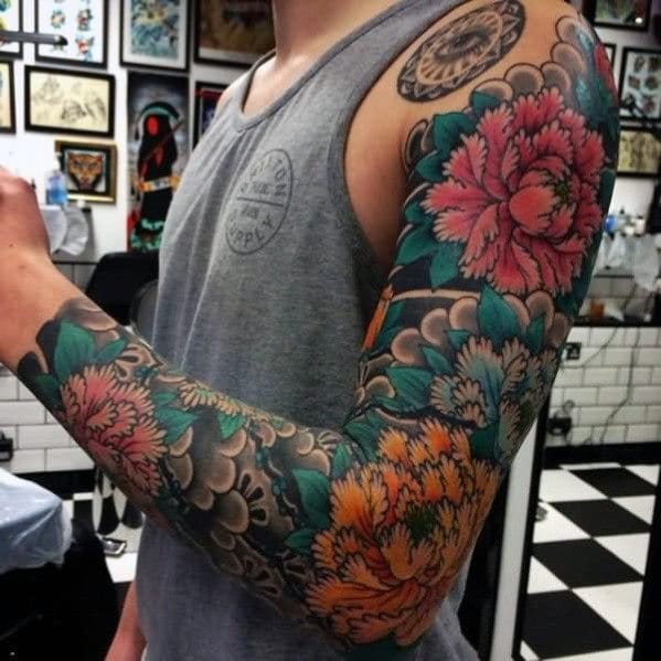 mens-japanese-flower-themed-full-sleeve-tattoo-inspiration