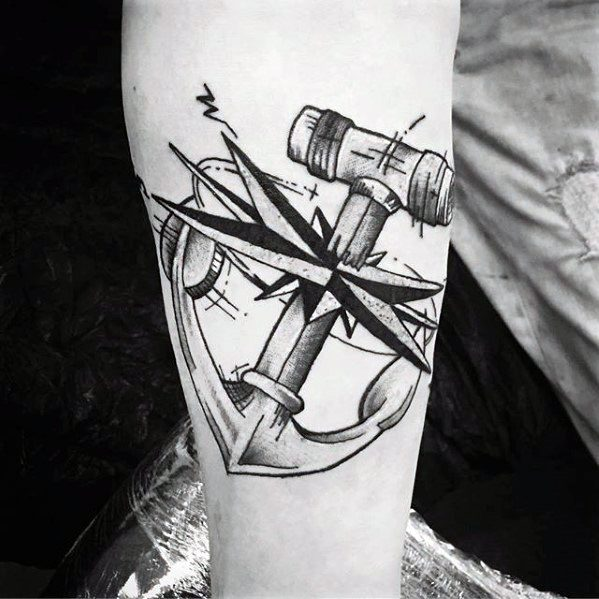 nautical-star-with-anchor-unique-mens-inner-forearm-tattoos