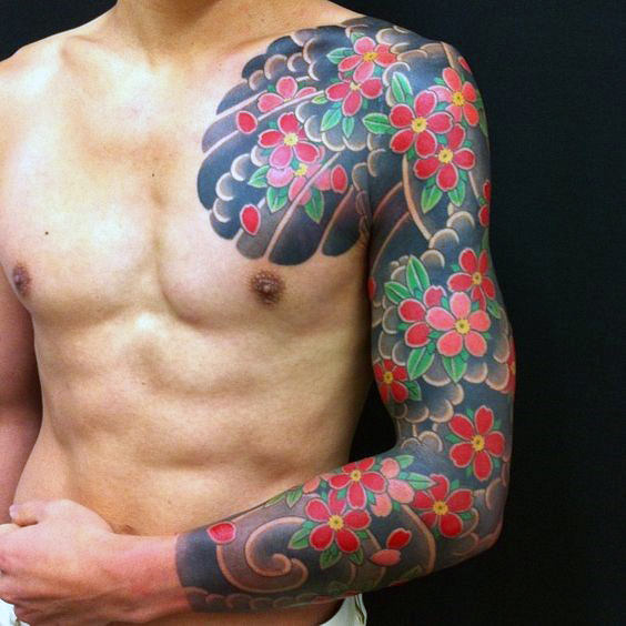 red-flower-guys-japanese-half-sleeve-and-chest-tattoos
