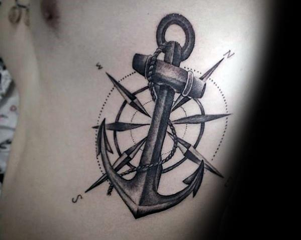 rib-cage-side-star-with-anchor-cool-unique-tattoo-ideas-for-men