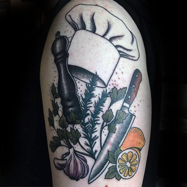culinary-chefs-hat-veggies-and-pepper-tattoo-male-forearms