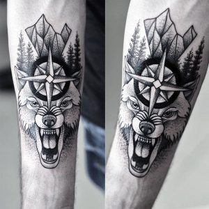 male-forearms-beast-and-religious-sign-dotwork-tattoo