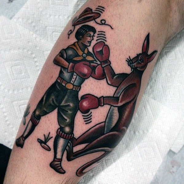 amazing-mens-traditional-boxer-with-kanagroo-tattoo-design-on-leg-calf