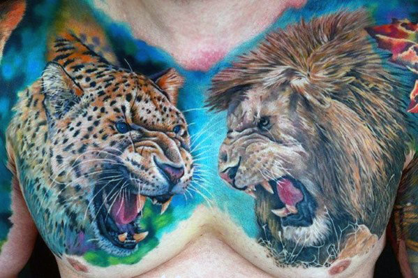 cheetah-with-lion-roaring-mens-upper-chest-tattoos