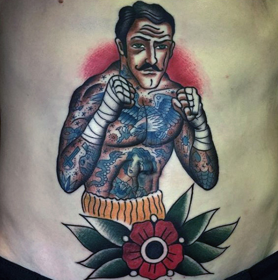 flower-with-traditional-boxer-guys-lower-chest-tattoo