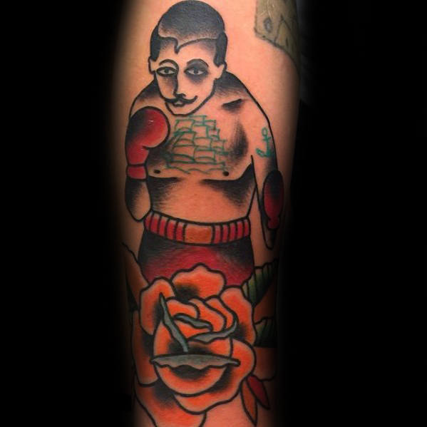 orange-flower-with-boxer-traditional-forearm-tattoos-for-males