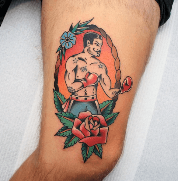 red-rose-flower-with-boxer-mens-traditional-thigh-tattoos