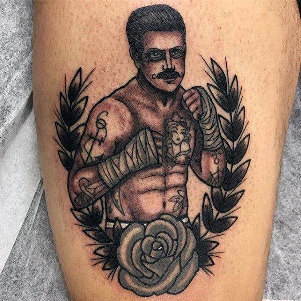 shaded-traditional-boxer-guys-thigh-tattoos