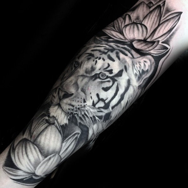 black-ink-shaded-tiger-with-lotus-flowers-mens-forearm-tattoos